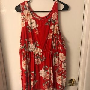 Torrid size two red floral sleeveless top